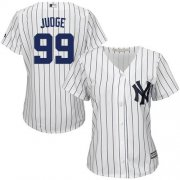 Wholesale Cheap Yankees #99 Aaron Judge White Strip Home Women's Stitched MLB Jersey
