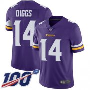 Wholesale Cheap Nike Vikings #14 Stefon Diggs Purple Team Color Men's Stitched NFL 100th Season Vapor Limited Jersey