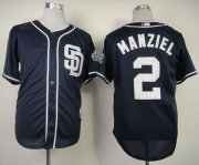 Wholesale Cheap Padres #2 Johnny Manziel Navy Blue Cool Base Stitched MLB Jersey