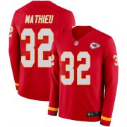 Wholesale Cheap Nike Chiefs #32 Tyrann Mathieu Red Team Color Youth Stitched NFL Limited Therma Long Sleeve Jersey