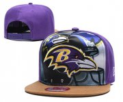 Wholesale Cheap Ravens Team Logo Purple Adjustable Leather Hat TX