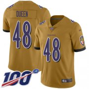 Wholesale Cheap Nike Ravens #48 Patrick Queen Gold Men's Stitched NFL Limited Inverted Legend 100th Season Jersey