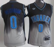 Wholesale Cheap Oklahoma City Thunder #0 Russell Westbrook Black/Gray Fadeaway Fashion Jersey
