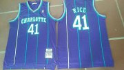 Wholesale Cheap Men's Charlotte Hornets #41 Glen Rice 1992-93 Purple Hardwood Classics Soul Swingman Throwback Jersey