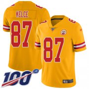 Wholesale Cheap Nike Chiefs #87 Travis Kelce Gold Men's Stitched NFL Limited Inverted Legend 100th Season Jersey