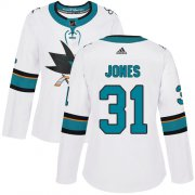 Wholesale Cheap Adidas Sharks #31 Martin Jones White Road Authentic Women's Stitched NHL Jersey