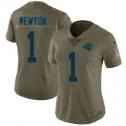 Wholesale Cheap Nike Panthers #1 Cam Newton Olive Women's Stitched NFL Limited 2017 Salute to Service Jersey