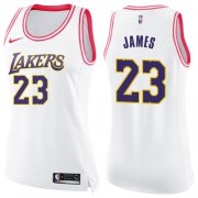 Wholesale Cheap Women's Nike Los Angeles Lakers #23 LeBron James White Pink NBA Swingman Fashion Jersey