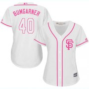 Wholesale Cheap Giants #40 Madison Bumgarner White/Pink Fashion Women's Stitched MLB Jersey