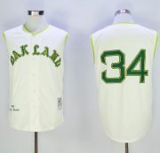 Wholesale Cheap Mitchell And Ness 1968 Athletics #34 Rollie Fingers Cream Throwback Stitched MLB Jersey
