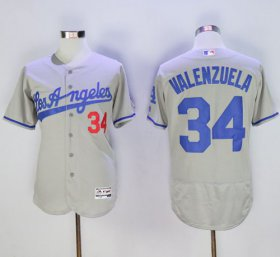 Wholesale Cheap Dodgers #34 Fernando Valenzuela Grey Flexbase Authentic Collection Road Stitched MLB Jersey