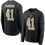 Wholesale Cheap New Orleans Saints #41 Alvin Kamara Nike Player Name & Number Long Sleeve T-Shirt Black