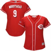 Wholesale Cheap Reds #9 Mike Moustakas Red Alternate Women's Stitched MLB Jersey