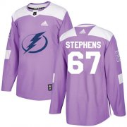 Cheap Adidas Lightning #67 Mitchell Stephens Purple Authentic Fights Cancer Stitched NHL Jersey