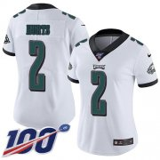Wholesale Cheap Nike Eagles #2 Jalen Hurts White Women's Stitched NFL 100th Season Vapor Untouchable Limited Jersey