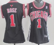 Wholesale Cheap Chicago Bulls #1 Derrick Rose Black Womens Jersey