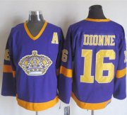Wholesale Cheap Kings #16 Marcel Dionne Purple/Yellow CCM Throwback Stitched NHL Jersey