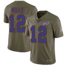 Wholesale Cheap Nike Bills #12 Jim Kelly Olive Men\'s Stitched NFL Limited 2017 Salute To Service Jersey