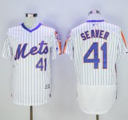 Wholesale Mets #41 Tom Seaver White(Blue Strip) Flexbase Authentic Collection Alternate Stitched Baseball Jersey