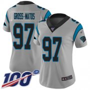 Wholesale Cheap Nike Panthers #97 Yetur Gross-Matos Silver Women's Stitched NFL Limited Inverted Legend 100th Season Jersey
