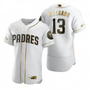 Wholesale Cheap San Diego Padres #13 Manny Machado White Nike Men's Authentic Golden Edition MLB Jersey
