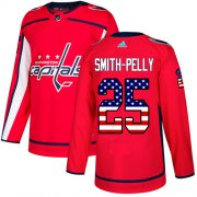 Wholesale Cheap Adidas Capitals #25 Devante Smith-Pelly Red Home Authentic USA Flag Stitched NHL Jersey