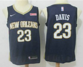 Wholesale Cheap Men\'s New Orleans Pelicans #23 Anthony Davis New Navy Blue 2017-2018 Nike Swingman zatarains Stitched NBA Jersey