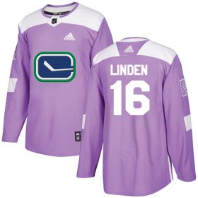 Wholesale Cheap Adidas Canucks #16 Trevor Linden Purple Authentic Fights Cancer Youth Stitched NHL Jersey