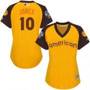 Wholesale Cheap Orioles #10 Adam Jones Gold 2016 All-Star American League Women's Stitched MLB Jersey