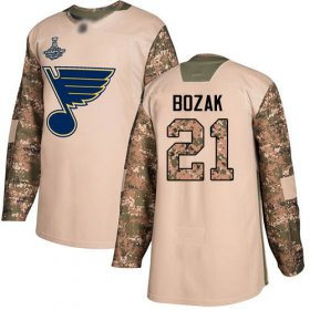 Wholesale Cheap Adidas Blues #21 Tyler Bozak Camo Authentic 2017 Veterans Day Stanley Cup Champions Stitched NHL Jersey
