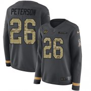 Wholesale Cheap Nike Redskins #26 Adrian Peterson Anthracite Salute to Service Women's Stitched NFL Limited Therma Long Sleeve Jersey