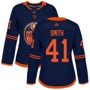 Wholesale Cheap Adidas Oilers #41 Mike Smith Navy Alternate Authentic Women's Stitched NHL Jersey