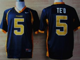 Wholesale Cheap Punahou High School #5 Manti Te\'o Navy Blue Jersey
