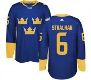 Wholesale Cheap Team Sweden #6 Anton Stralman Blue 2016 World Cup Stitched NHL Jersey
