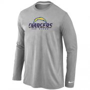 Wholesale Cheap Nike Los Angeles Chargers Authentic Logo Long Sleeve T-Shirt Grey