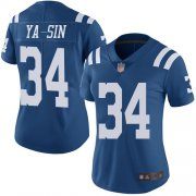 Wholesale Cheap Nike Colts #34 Rock Ya-Sin Royal Blue Women's Stitched NFL Limited Rush Jersey