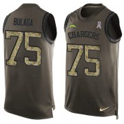 Wholesale Cheap Nike Chargers #75 Bryan Bulaga Green Men's Stitched NFL Limited Salute To Service Tank Top Jersey