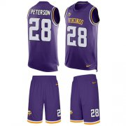 Wholesale Cheap Nike Vikings #28 Adrian Peterson Purple Team Color Men's Stitched NFL Limited Tank Top Suit Jersey