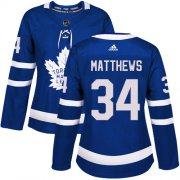 Wholesale Cheap Adidas Maple Leafs #34 Auston Matthews Blue Home Authentic Women's Stitched NHL Jersey
