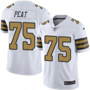 Wholesale Cheap Nike Saints #75 Andrus Peat White Men's Stitched NFL Limited Rush Jersey