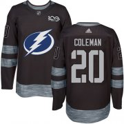 Cheap Adidas Lightning #20 Blake Coleman Black 1917-2017 100th Anniversary Stitched NHL Jersey