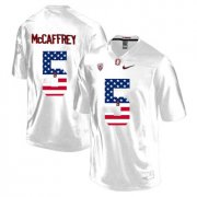 Wholesale Cheap Stanford Cardinal 5 Christian McCaffrey White USA Flag College Football Limited Jersey
