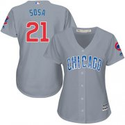 Wholesale Cheap Cubs #21 Sammy Sosa Grey Road Women's Stitched MLB Jersey