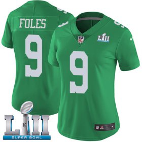 Wholesale Cheap Nike Eagles #9 Nick Foles Green Super Bowl LII Women\'s Stitched NFL Limited Rush Jersey
