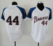 Wholesale Cheap Mitchell And Ness 1974 Braves #44 Hank Aaron White Throwback Stitched MLB Jersey