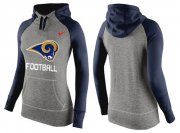 Wholesale Cheap Women's Nike Los Angeles Rams Performance Hoodie Grey & Dark Blue
