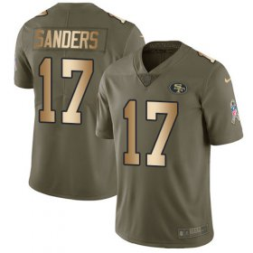 Wholesale Cheap Nike 49ers #17 Emmanuel Sanders Olive/Gold Men\'s Stitched NFL Limited 2017 Salute To Service Jersey