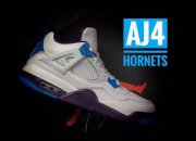Wholesale Cheap Air Jordan 4 Hornets White/blue-purple