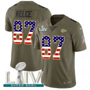 Wholesale Cheap Nike Chiefs #87 Travis Kelce Olive/USA Flag Super Bowl LIV 2020 Youth Stitched NFL Limited 2017 Salute To Service Jersey