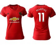 Wholesale Cheap Women's Manchester United #11 Martial Red Home Soccer Club Jersey